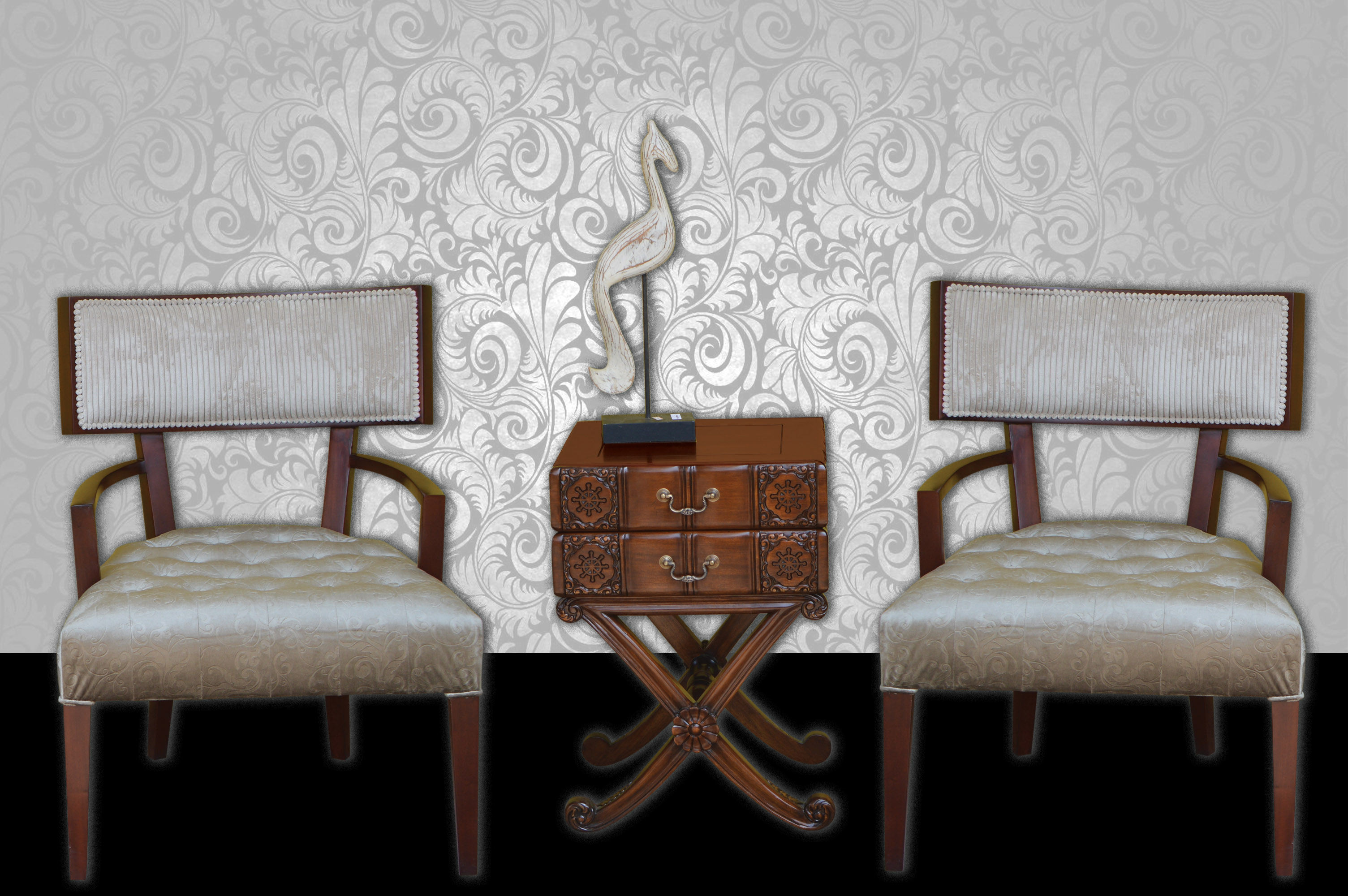 Elegant Foyer Chairs Upholstered In Silk And Corduroy Complemented By 2  Drawer Book Shaped Shelf